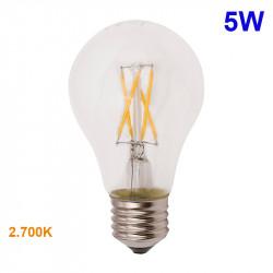 Bombilla LED A60 E27 ,de filamentos, en cristal transparente, 5W 660lm, 2.700K, 360º de apertura.