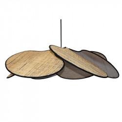 Lámpara de techo colgante, pendel de plástico negro, 1 luz, con pantalla pétalos 6 hojas en Rafia marrón con filo negro.