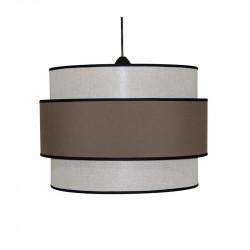 Lámpara de techo colgante moderno, pendel de plástico negro, 1 luz, con pantalla cilíndrica Ø 40 cm, doble.
