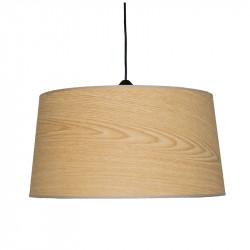 Lámpara de techo colgante moderno, pendel de plástico negro, 1 luz, con pantalla Ø 45 cm en acabado Madera Natural.