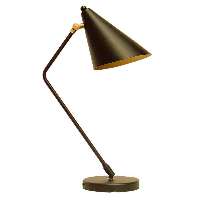 Lámpara flexo retro, armazón metálico en acabado negro mate, brazo articulado, 1 luz, con pantalla metálica.