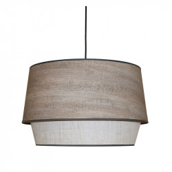 Lámpara de techo colgante moderno, pendel de plástico negro, 1 luz, con pantalla Ø 45 cm doble