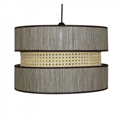 Lámpara de techo colgante moderno, pendel de plástico negro, 1 luz, con pantalla Ø 45 cm triple.