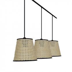Lámpara de techo moderna, estructura metálica en acabado negro, 3 luces, con pantalla Ø 20 cm de Rattan en Rejilla