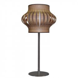 Lámpara de sobremesa moderno, estructura metálica en acabado negro, 1 luz, con pantalla Ø 25 cm en acabado Madera Nogal.