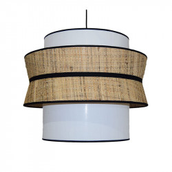 Lámpara de techo colgante moderno, pendel con cable textil negro, 1 luz, con pantalla Ø 50 cm triple.