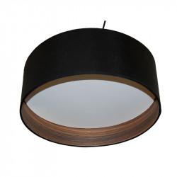 Lámpara de techo colgante moderno, pendel con cable textil en negro, 1 luz, con pantalla Ø 40 cm, exterior en acabado negro.