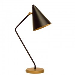 Lámpara flexo retro, estructura metálica en acabado negro mate, 1 luz, con pantalla metálica orientable