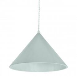 Lámpara de techo colgante moderno, Serie Vilma, estructura metálica en acabado verde, 1 luz, con pantalla