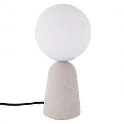 Lámpara de sobremesa moderno, Serie Creta, estructura de cemento, 1 luz, con difusor de vidrio soplado en bola