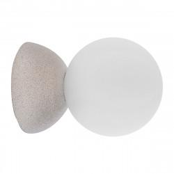 Aplique de pared moderno, Serie Creta, estructura de hormigón gris, 1 luz, con difusor de vidrio soplado en bola