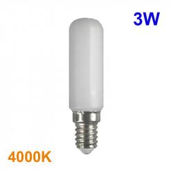 Bombilla LED E14, mini tubular 3W 220lm 4.000K 300º de apertura.