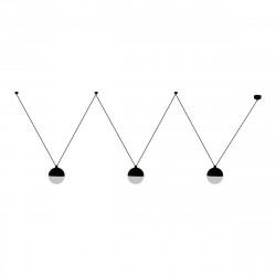 Lámpara de techo moderna, Serie Eclipse, estructura de metal y hormigón en acabado negro, 3 luces