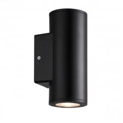 Aplique de pared para exterior, Serie Yopol, estructura de policarbonato en color negro, 2 luces