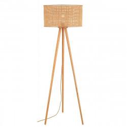 Lámpara de pie de salón, Serie Wala, con estructura de trípode de madera y pantalla de ratán natural.