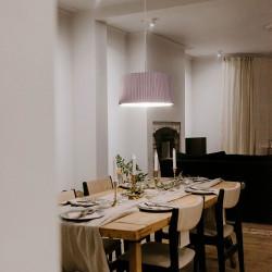 Lámpara de techo colgante moderno, Serie Ona, estructura metálica en acabado blanco, 1 luz, con pantalla Ø 50 cm de tela.