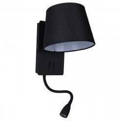 Aplique de cabecero, Serie Nabia, estructura metálica en acabado negro, con lector LED