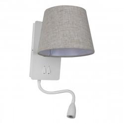 Aplique de cabecero, Serie Nabia, estructura metálica en acabado blanco mate, con lector LED