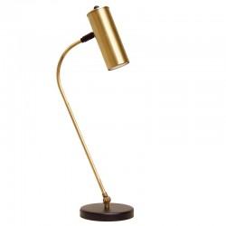 Lámpara flexo retro, estructura metálica en acabado negro, con elementos de latón en acabado satinado, 1 luz
