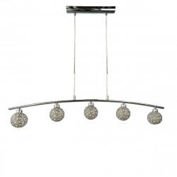 Lámpara de techo moderna, Serie Beramo I, estructura metálica en acabado cromo brillo, 5 luces, con tulipas