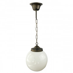 Lámpara de techo colgante clásico, estructura metálica en acabado oro viejo, 1 luz, con difusor de vidrio soplado.
