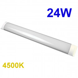 Regleta LED T8 plana, 24W 2.160 lm 3.000K, 4.500K ó 6.000K, 110º de apertura. IP44.