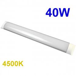 Regleta LED T8 plana, 40W 3.600 lm 3.000K, 4.500K ó 6.000K, 110º de apertura. IP44.