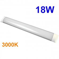 Regleta LED T8 plana, 18W 1.620 lm 3.000K, 4.500K ó 6.000K, 110º de apertura. IP44.
