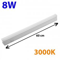Regleta LED, Tipo T5, con interruptor, ↔ 60 cm, 8W 900lm, color de la luz 3.000K. Conectable con otra regletas T5.