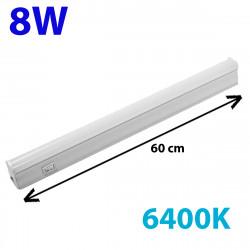 Regleta LED, Tipo T5, con interruptor, ↔ 60 cm, 8W 900lm, color de la luz 6.400K. Conectable con otra regletas T5.