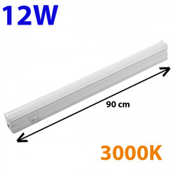 Regleta LED, Tipo T5, con interruptor, ↔ 90 cm, 12W 1.200lm, color de la luz 3000K. Conectable con otra regletas T5.