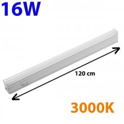 Regleta LED, Tipo T5, con interruptor, ↔ 120 cm, 16W 1.700lm, color de la luz 3.000K. Conectable con otra regletas T5.