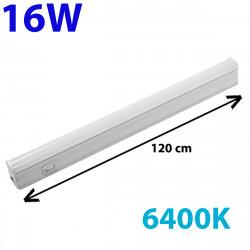 Regleta LED, Tipo T5, con interruptor, ↔ 120 cm, 16W 1.700lm, color de la luz 6.400K. Conectable con otra regletas T5.