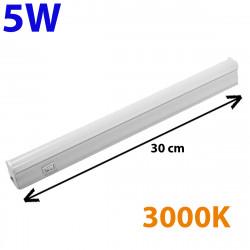 Regleta LED, Tipo T5, con interruptor, ↔ 30 cm, 5W 500lm, color de la luz 3.000K. Conectable con otra regletas T5.