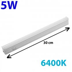 Regleta LED, Tipo T5, con interruptor, ↔ 30 cm, 5W 500lm, color de la luz 6.400K. Conectable con otra regletas T5.