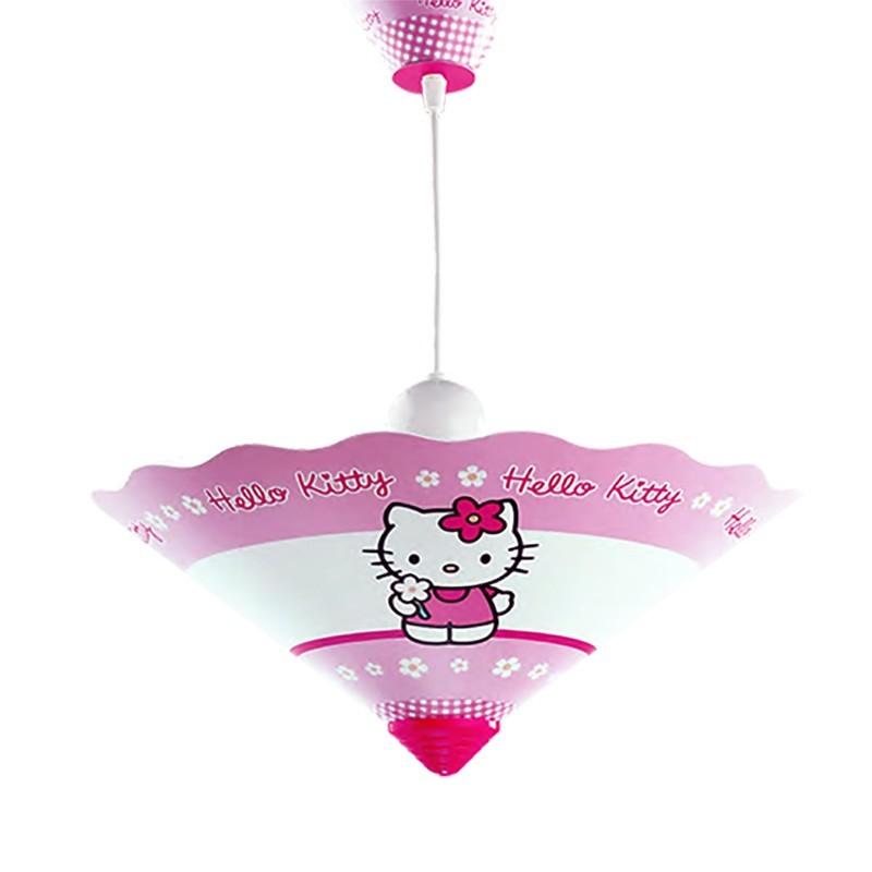 Lámpara de techo colgante infantil, Serie Hello Kitty, 1 luz, con pantalla Ø 35 cm de pvc.