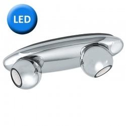 Aplique de pared, con bombilla LED, Serie Norbello, armazón metálico en acabado cromo brillo, 2 luces, tipo foco orientables.