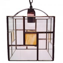 Lámpara de techo farol, estilo granadino, Serie Madrid, armazón metálico en acabado dorado, 1 luz, con cristales opalina
