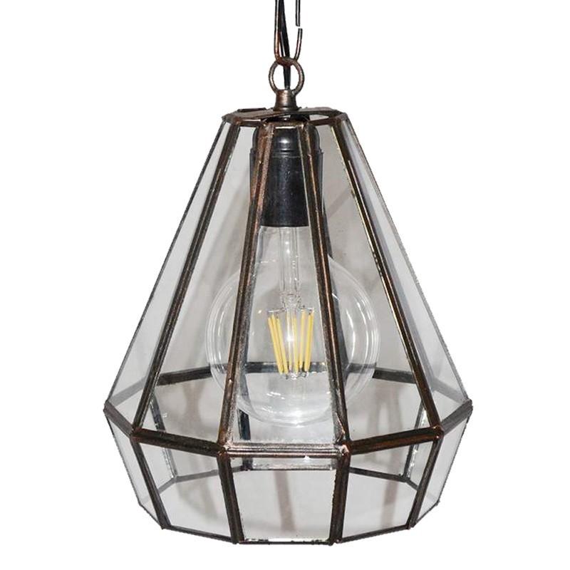 Lámpara de techo colgante, estilo granadino, armazón metálico en acabado negro, 1 luz, con difusor Ø 19 cm