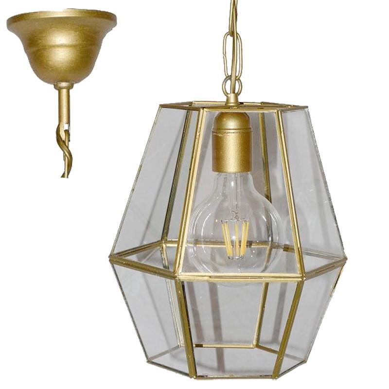 Lámpara de techo colgante, estilo granadino, armazón metálico en acabado dorado, 1 luz, con difusor Ø 22 cm