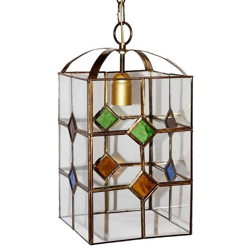 Lámpara de techo farol granadino, armazón metálico en acabado dorado, 1 luz, con difusor 15x15 cm