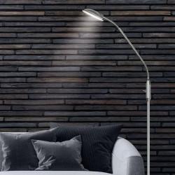 Lámpara Pie de Salón, Serie Nao, en acabado níquel satinado, iluminación LED integrada, 5W 500lm 4000K, luminaria orientable.