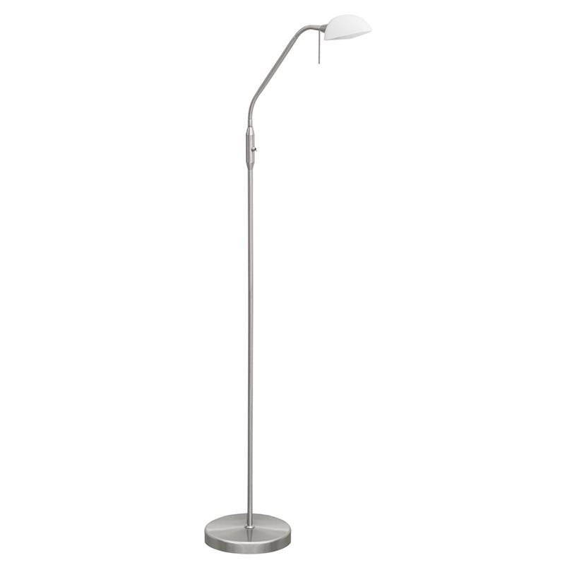 Lámpara Pie de Salón, Serie Modos, en acabado níquel satinado, con tulipa de cristal en blanco, luminaria orientable.