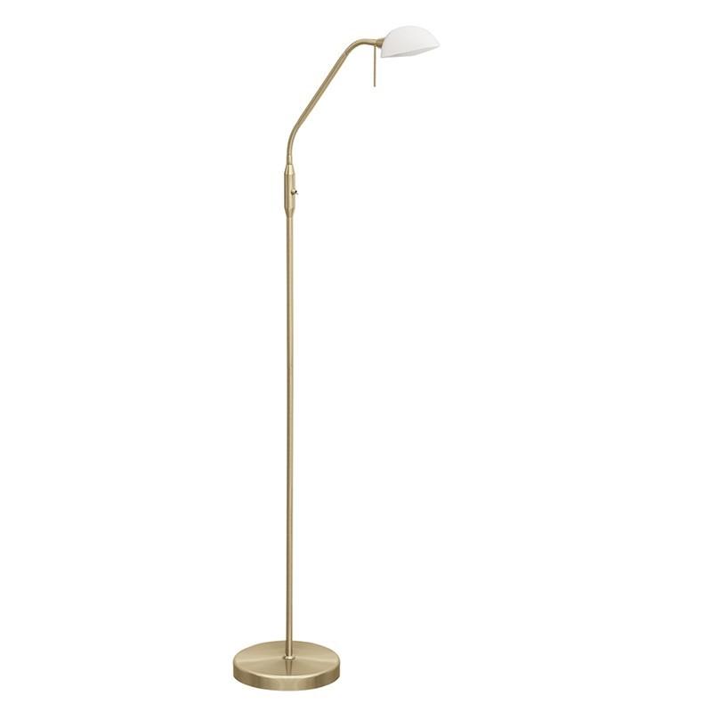 Lámpara Pie de Salón, Serie Modos, en acabado cuero, con tulipa de cristal en blanco, luminaria orientable.