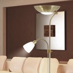 Lámpara Pie de Salón, Serie Remy, en acabado cuero, con tulipa de cristal en blanco, con doble interruptor.