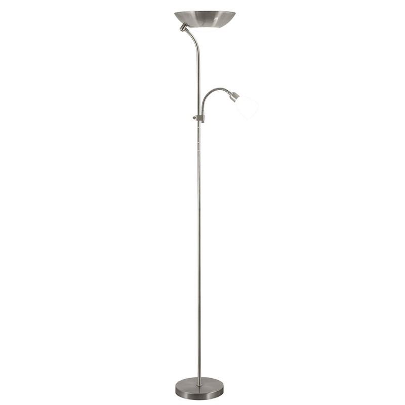 Lámpara Pie de Salón, Serie Remy, en acabado níquel satinado, con tulipa de cristal en blanco, con doble interruptor.