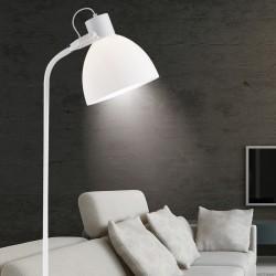 Lámpara Pie de Salón, Serie Sendai, en acabado blanco, con pantalla acrílica, luminaria orientable.