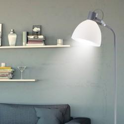 Lámpara Pie de Salón, Serie Sendai, en acabado gris, con pantalla acrílica, luminaria orientable.