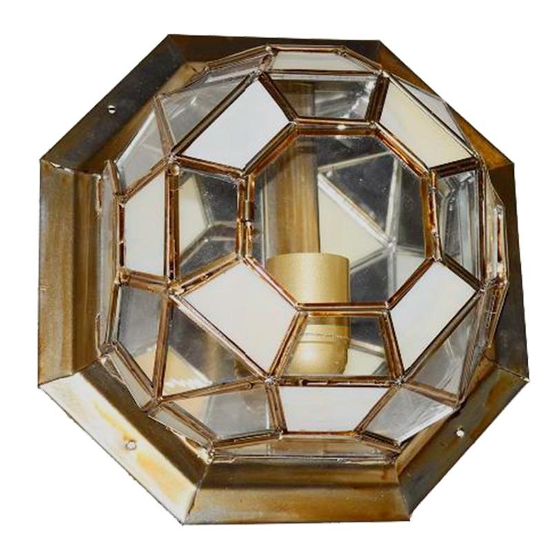Lámpara de techo plafón granadino, armazón metálico en acabado dorado, 1 luz