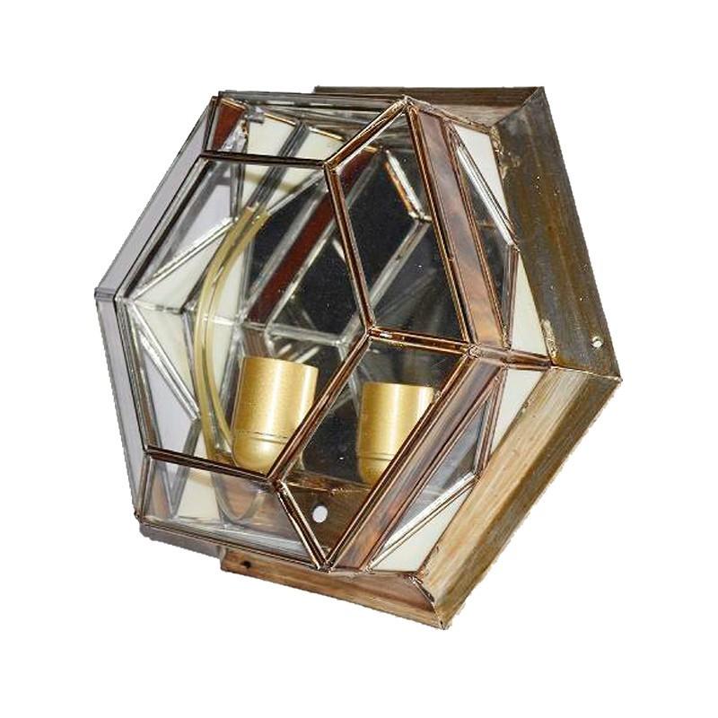 Lámpara de techo plafón, estilo granadino, armazón metálico en acabado dorado, 1 luz, con cristal opalina y transparente